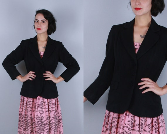 Vintage 1940s 1950s Jacket | 40s 50s Pitch Black Wool Gabardine Blazer with Rounded Lapels, Self-Covered Buttons and Real Pockets! | Small