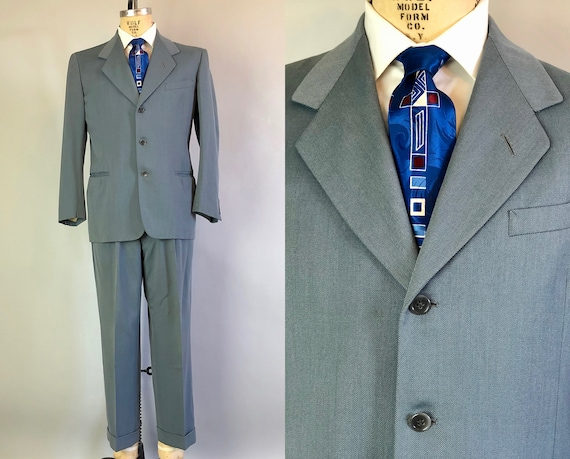 1950s Men Suit Dated 1951! | Vintage Early 50s Dusk Blue Grey/Gray Wool Suit with Welted Pockets and Cuffed Trousers | Size 40 Medium