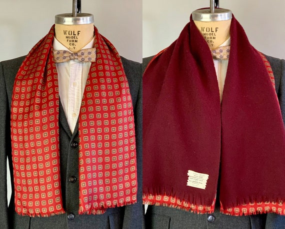 "1940s Mens Double Sided Scarf | Vintage 40s Rich Red with Olive Green Geometric Squares Silk & Wool Neck Sash w/ Fringe by ""Bonwitt Teller"""