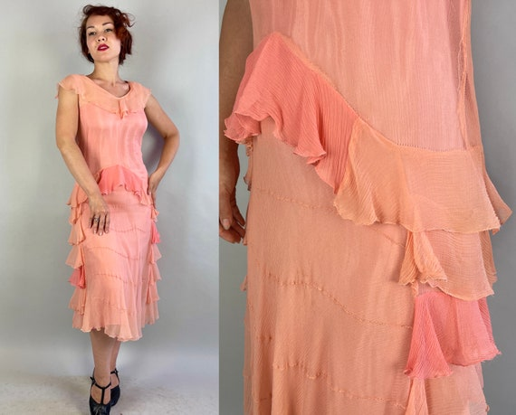 1920s Rita's Ruffled Rumba Frock | Vintage 20s Two Tone Pink Silk Crepe Chiffon Flapper Dress with Tiered Ruffles | Small/XS Extra Small
