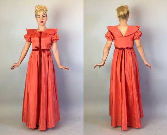 1930s Coral Silk Taffeta Evening Gown | Vintage 3… - image 9