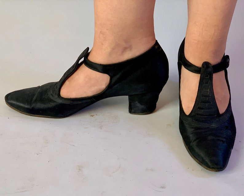 1920s Dance Hall Doll Shoes  Vintage 20s Black Satin and image 0