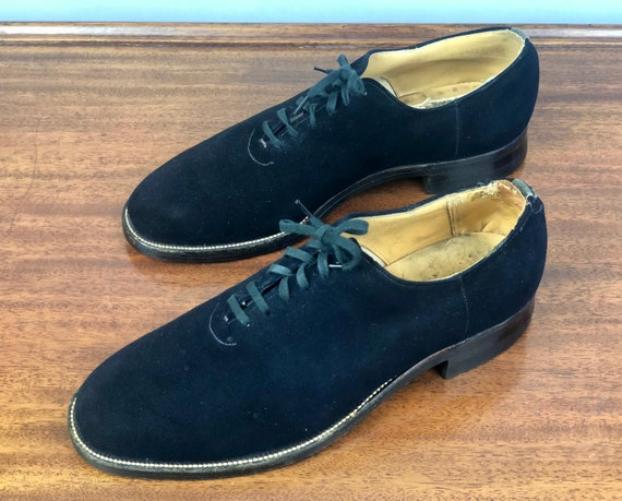 1940s Blue Suede Shoes | Vintage 40s Mens Shoes Plain Toe Navy Blue Leather Oxfords with Original Cotton Laces and Stacked Heel | Size 7