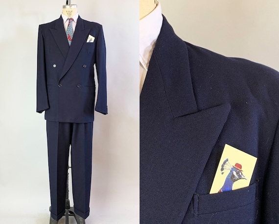 1940s Leading Man Suit | Vintage 40s Navy Blue Heavy Wool Gabardine Double Breasted Peak Lapel Jacket and Trousers | Size 40 Medium Long