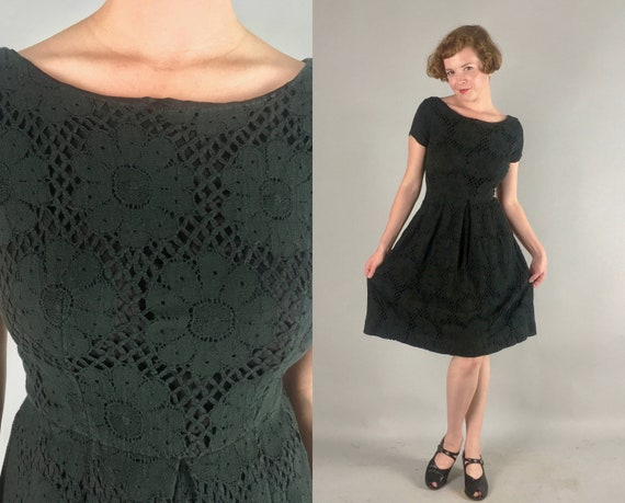 "1950s Black Floral Lace Dress | Vintage 50s Knit Day-to-Night Cocktail Party Dress by ""Lou Ross of California"" 