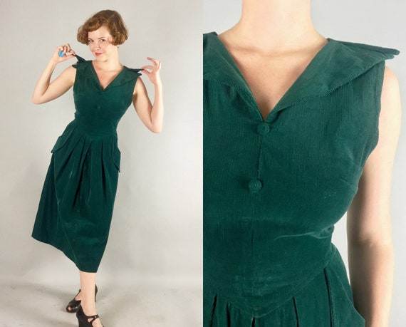 1950s Vampy Emerald Dress | Vintage 50s Forest Green Thin Wale Corduroy Day-to-Night Cocktail Evening Dress with Peaked Pockets! | Medium