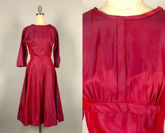 1950s Dress | Vintage 50s Beet Red & Royal Blue Iridescent Silk Taffeta Empire Waist Tie-Back Evening Cocktail Party Dress | Extra Small XS