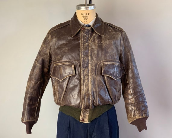 1940s Speedy Getaway Mens Jacket | Vintage 40s Chocolate Brown Leather A2 Bomber Jacket with Double Flap Pockets | Medium