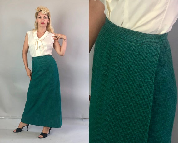 1930s Teal A-Line Skirt | Vintage 30s Classic Full Length Soft Wool Tweed Blue Green Woven Skirt with One Deep Pleat at Closure | Small