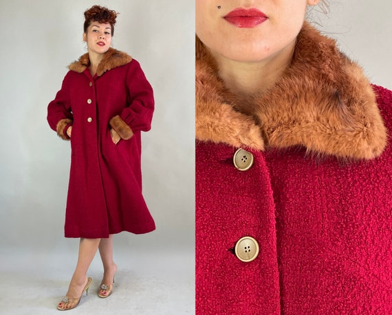 1950s Foxy Franny's Coat | Vintage 50s Cranberry Red Boucle Wool Swing Overcoat with Fox Fur Collar and Cuffs and Pockets | Extra Large XL