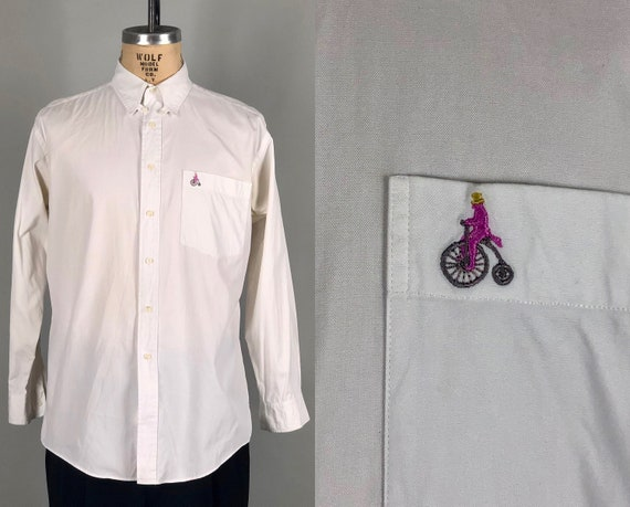 Vintage 1990s Shirt | 90s Men's White Cotton Oxford Dress Shirt W/ Collar Button Tab & Novelty Bike Embroidery On Pocket | Size 16 Large