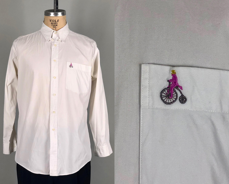 Vintage 1990s Shirt 90s Mens White Cotton Oxford Dress Shirt W