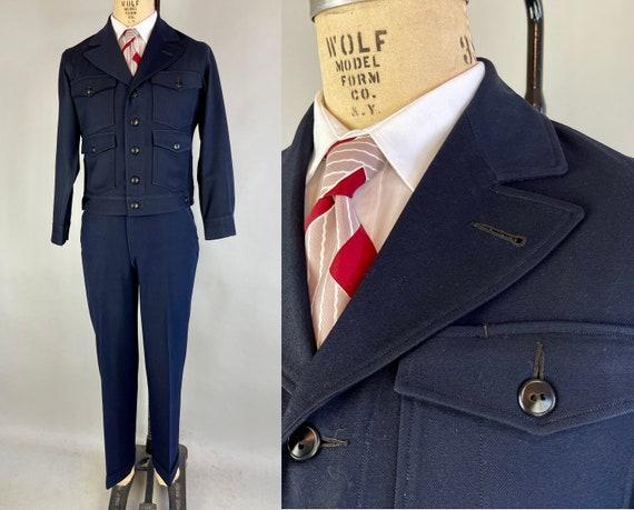 1940s Union Man Workwear Suit | Vintage 40s Navy Blue Wool Twill Two-Piece Peak Lapels Jacket & Trousers Set Dated 1948! | Size 38/40 Medium