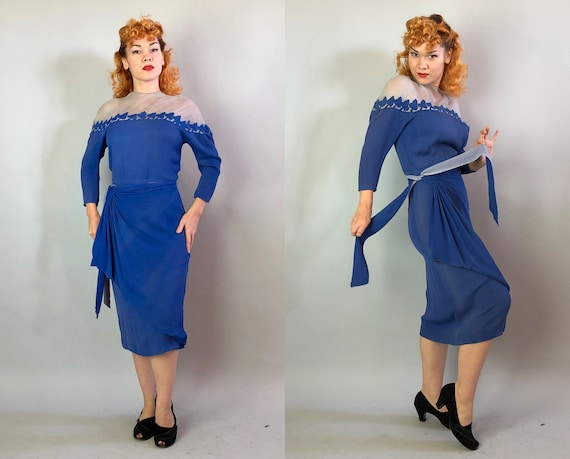 1930s Standout Cocktail Dress | Vintage 30s Cornflower Blue Rayon Dress w/ Silk Chiffon Sheer Bust Leaf Pattern & Peplum Waist Sash | Medium