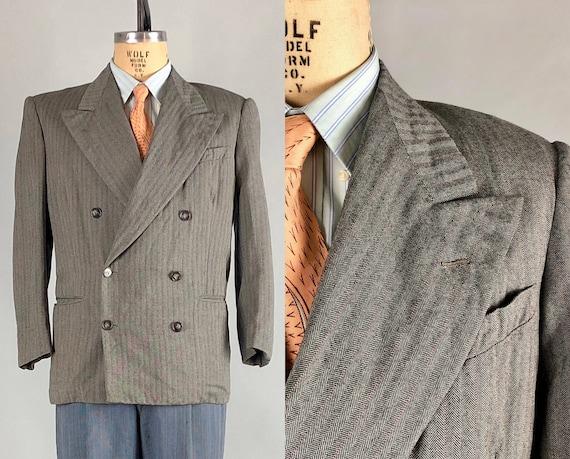 1940s Mens Herringbone Blazer | Vintage 40s Double-Breasted Black and Gray Sport Coat Jacket by 'Land & Land' | Medium Size 38