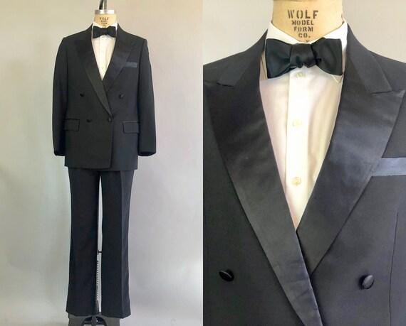 1950s Peak Lapel Mens Tuxedo | Vintage 50s Formal Black Wool Double Breasted Tux Evening Suit w/Silk Satin Buttons | Size 38 Medium
