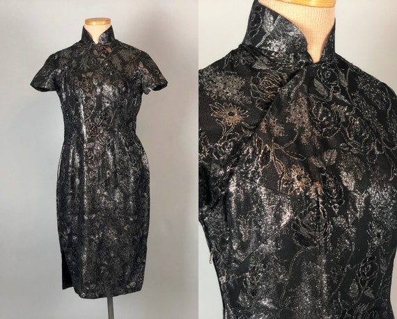 1950s Floral Lurex Cheongsam | Vintage 50s Black Silver Grey Rose Qipoa Traditional Chinese Cocktail Evening Dress | Extra Small XS