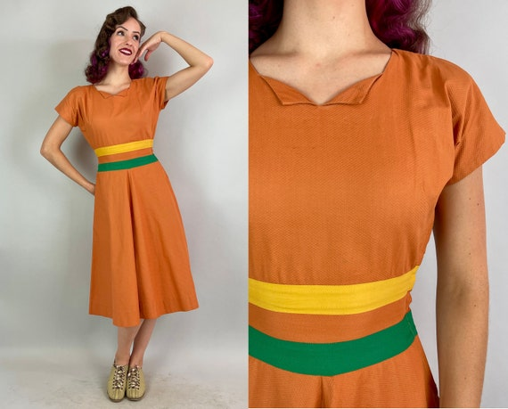 1940s Pumpkin Patch Perfect Dress   Vintage 40s Orange Green & Yellow Color Block Pique Cotton Frock with Padded Shoulders   Extra Small XS