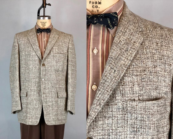 1950s Mens Heathered Blazer | Vintage 50s Cloud Gray and Latte Tan Brown Windowpane Plaid Tweed Sport Coat Jacket | Medium Large Size 40/42