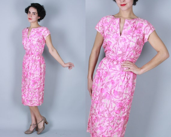 "Vintage 1950s Dress | 50s ""Malcolm Starr"" Pink and White Floral Beaded Sheath Dress 