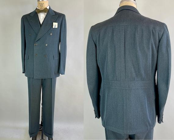 1930s Teal Green Belted Back Suit | Vintage 30s Three Piece Wool Set w/Peak Lapel Belt Back Jacket Waistcoat Vest & Trousers | Size 42 Large