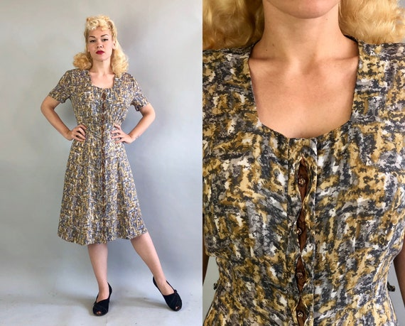 Vintage 1950s Dress | 50s Impressionistic White Grey Gray & Flaxen Yellow Print Rayon Dress w/Bronze Keyhole Rhinestone Button Front | Small
