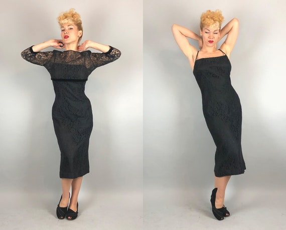 1950s Black Lace Dress Set | Vintage 50s Bombshell Rhinestone Spaghetti Strap Cocktail Evening Dress w/Matching Bolero | Small Medium
