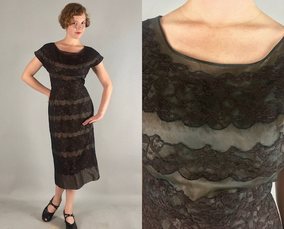 "1950s Lace & Chiffon Frock | Vintage 50s Dark Chocolate Brown and Black Evening Cocktail Party Dress by ""Allen Peck"" 