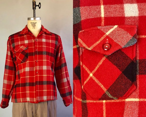 1940s Mens Shirt | Vintage 40s Red Plaid Wool Square Cut Camp Shirt with Top Loop, Single Pocket & Great Buttons by 'Drayton' | Medium/Large