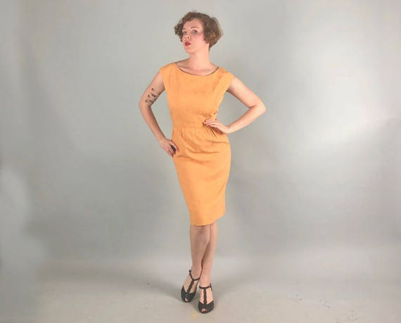 Vintage 1960s Dress | 60s Marigold Yellow Orange Floral Raised Print Mod Sleeveless Day Dress | Medium