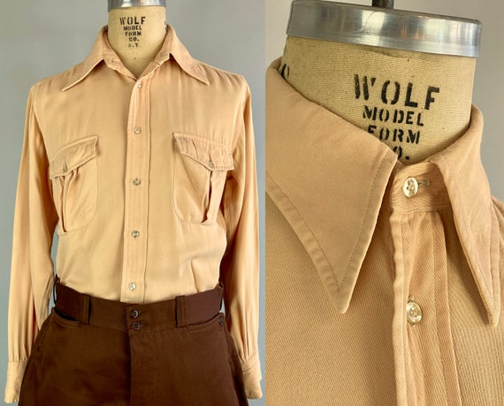 1940s Pete's Pleasant Peach Shirt | Vintage 40s Apricot Wool Soft Gabardine Button Up with Top Stitching & Box-Pleated Flap Pockets | Medium