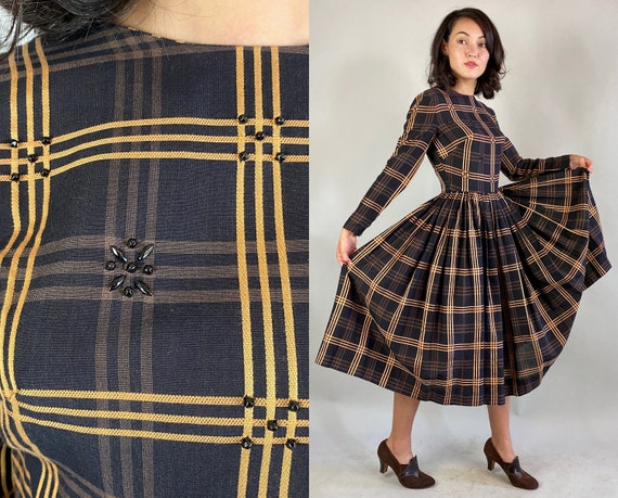 1950s Party in Plaid Dress | Vintage 50s Gold Brown and Black Tartan Wool Cocktail Frock with Jet Studs and Full Skirt | Extra Small XS