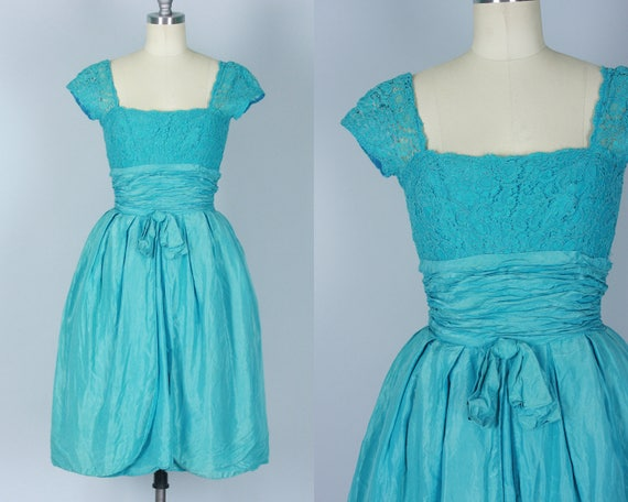 Vintage 1950s Dress | 50s Caribbean Sea Blue Silk Taffeta Day-to-Night Party Dress with Lace Bodice | Extra Small XS