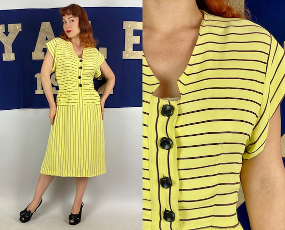 1930s Ray of Sunshine Day Dress   Vintage 30s Sunny Yellow with Brown Stripes Rayon Jersey Frock w/Flower Buttons & Bell Zip   Small Medium