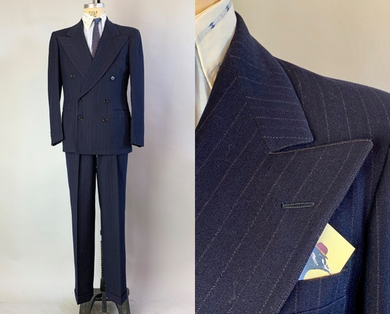 1940s Pin Stripe Gangster Suit | Vintage Mens 40s Navy Blue with Cream White Wool Trouser Pants & Blazer Jacket Dated 1948! | Size 38 Medium