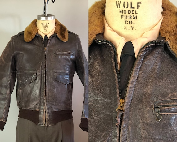 1940s Fly Boy A-2 Leather Jacket | Vintage 40s Coffee Brown Air Force Coat with Knit Cuffs and Waistband and Sheepskin Collar | Small
