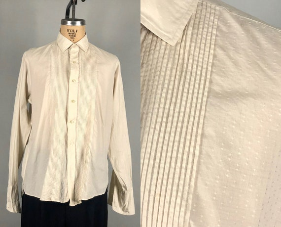 "Vintage 1940s Mens Shirt | 40s White Cotton ""Van Heusen"" Button Up Oxford w/French Cuffs Woven Diamonds & Pintucking 