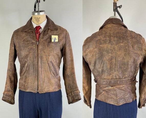 1940s Rebel Yells Leather Jacket | Vintage 40s Chestnut Brown Cropped Sportswear Motorcycle Workwear Jacket w/Belted Buckle Back | Medium
