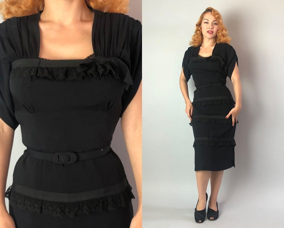 1940s Jet Black Bombshell Dress | Vintage 40s Rayon Cocktail Evening LBD w/Grosgrain Ribbon, Lace Tiers, Ruched Shoulders & Sleeve | Small