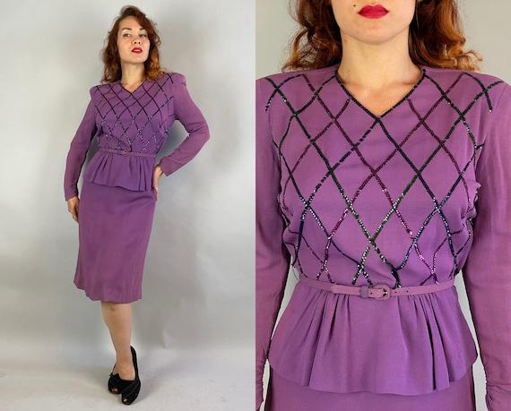 1940s Mardi Gras Mabel Dress   Vintage 40s Purple Rayon Crepe Half Peplum Frock with Harlequin Gelatin Sequins and Matching Belt   Medium