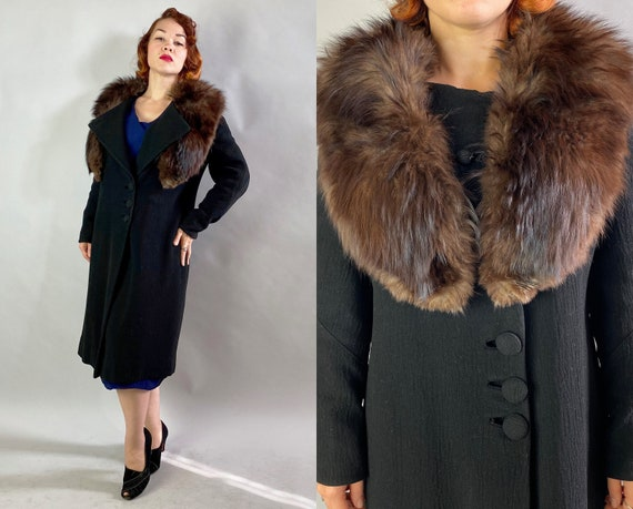 1920s Daring Dotty Nouveau Coat | Vintage Antique Teens 20s Black Wool Overcoat w/Removable Fox Fur Collar & Art Deco Topstitching | Medium