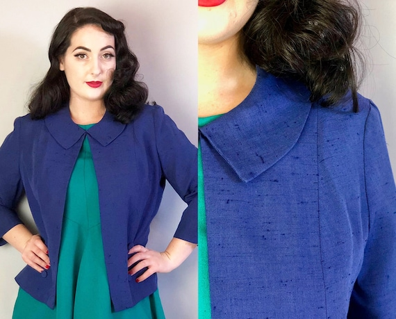 1950s Royal Blue Ladies Jacket | Vintage 50s Slubby Linen Bolero Coat with Self Fabric Covered Buttons & Peter Pan Collar | Large