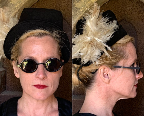 """1930s 30s """"To Die For"""" Vintage Black Felt Topper Hat Cap with Square Crown Turned Up Brim and Ivory White Feather Plume"""