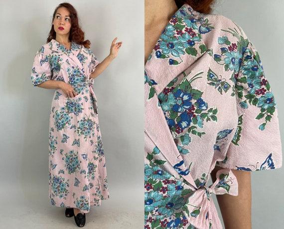 1940s Butterflies & Bouquets Dressing Gown | Vintage 40s Pink Green Blue Seersucker Cotton Lounge Robe Hostess Wrap Dress | Extra Large XL