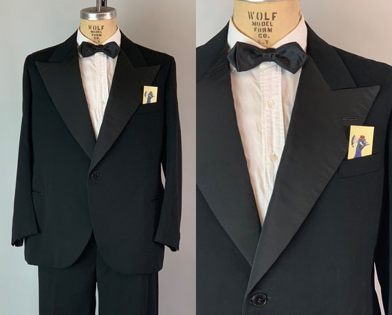 1930s Hollywood Hero Tuxedo | Vintage 30s Classic Black Single Breasted Wool and Silk Faille Tux Suit with Peak Lapels  | Size 42 Large