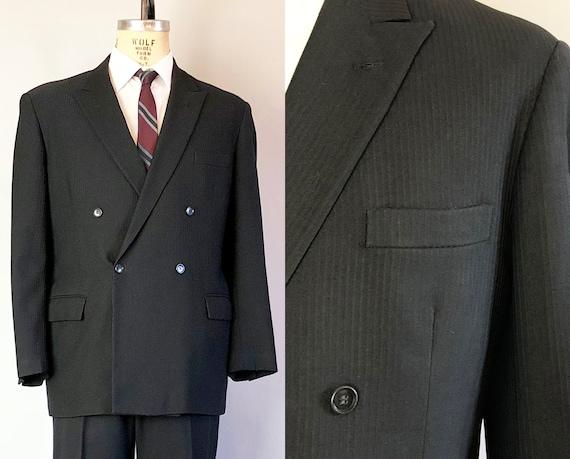 1930s Peak Lapel Mens Blazer | Vintage 30s Jet Black Wool Ventless Jacket Sports Coat with Woven Vertical Stripes | Size 40 Medium