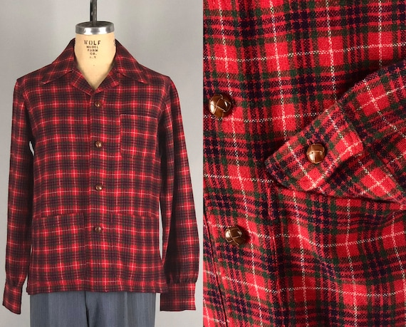 1940s Mens ShirtJac | Vintage 40s Wool 49er Top Loop Square Cut 3-Pocket Long Sleeve Red Plaid Shirt-Jac w/ Leather Buttons | Medium