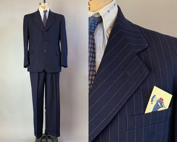 1940s Gorgeous Gangster Suit | Vintage 40s Midnight Blue with White Pinstripes Wool Two Piece Wide Lapel Jacket & Trousers | Size 40 Medium