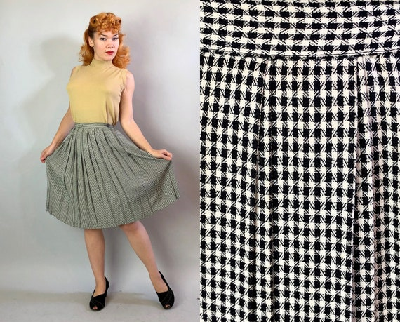 1940s Houndstooth Skirt | Vintage A-Line Midi Rayon Skirt Black & White Micro Houndstooth with Nipped Waist and Double Pleats | Small