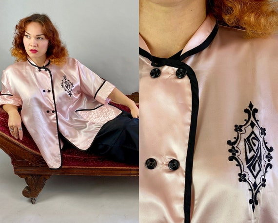 1940s Lounging Lady Pajama Set | Vintage 40s Pink